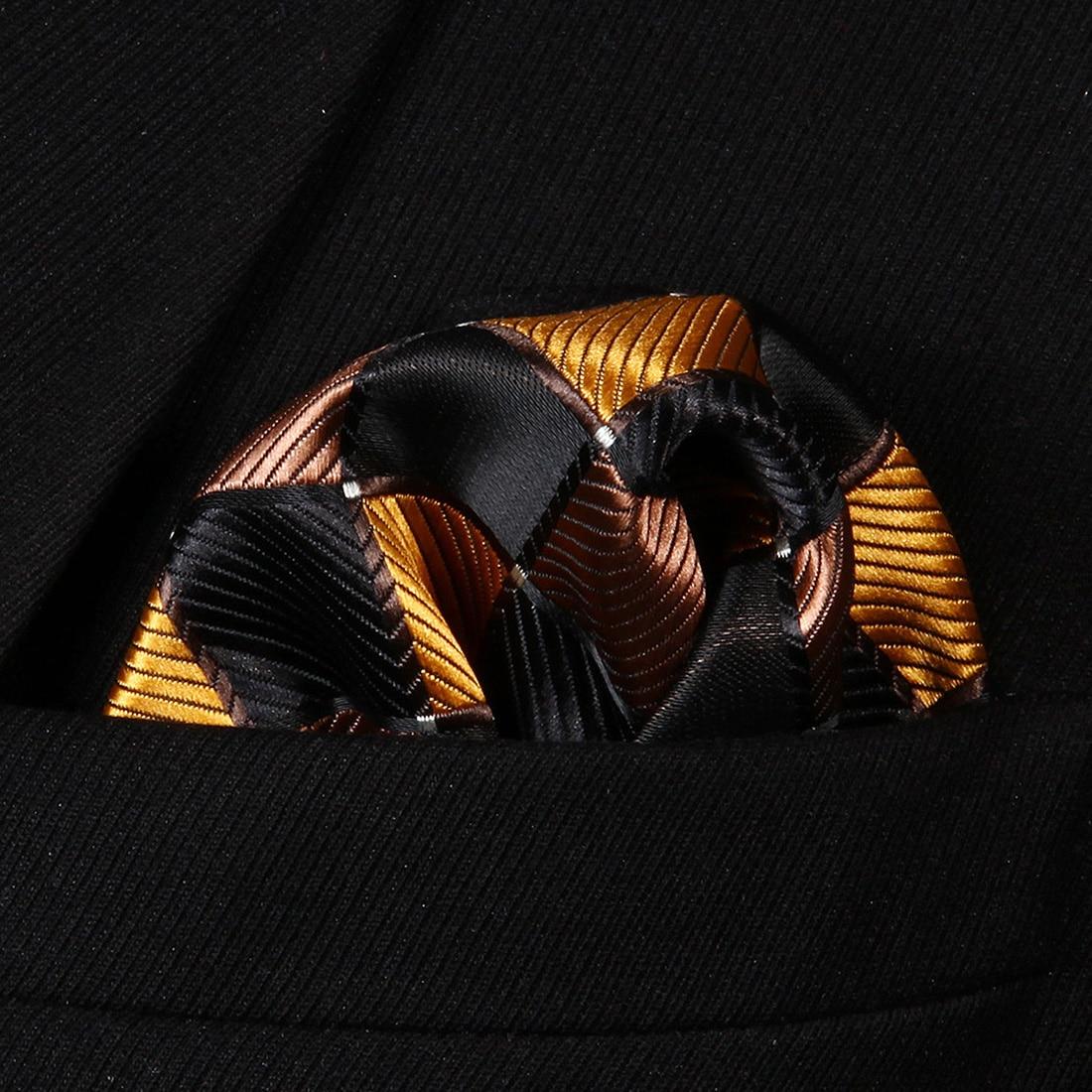 HC807Z Orange Brown Check Men 100% Silk Party Handkerchief Pocket Square Hanky