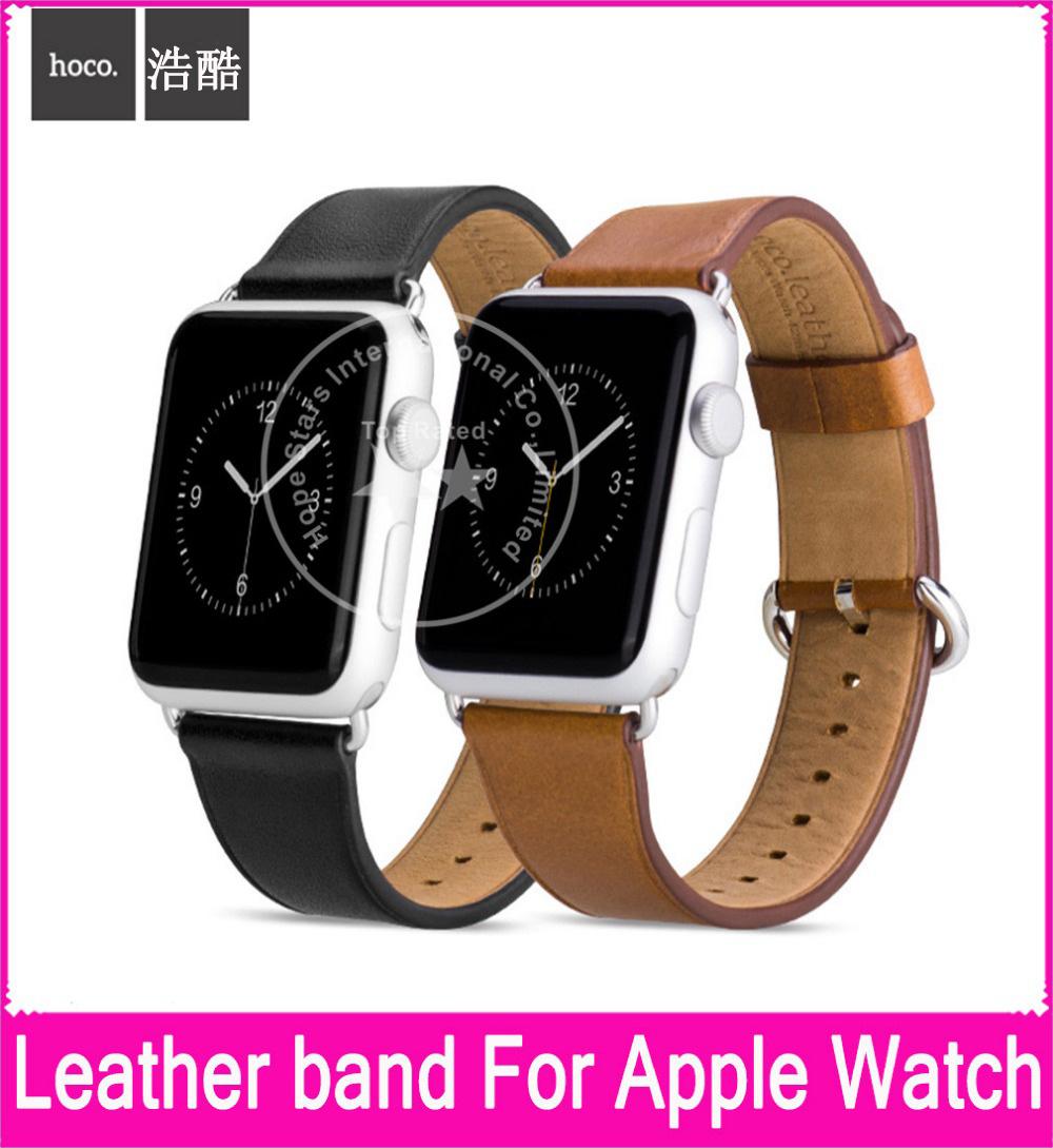 Prix pour 2017 Nouveau Luxe En Cuir Véritable Bracelets Pour Apple Watch 38mm 42mm Avec Couche Supérieure en cuir Et Boucle En Métal D'origine