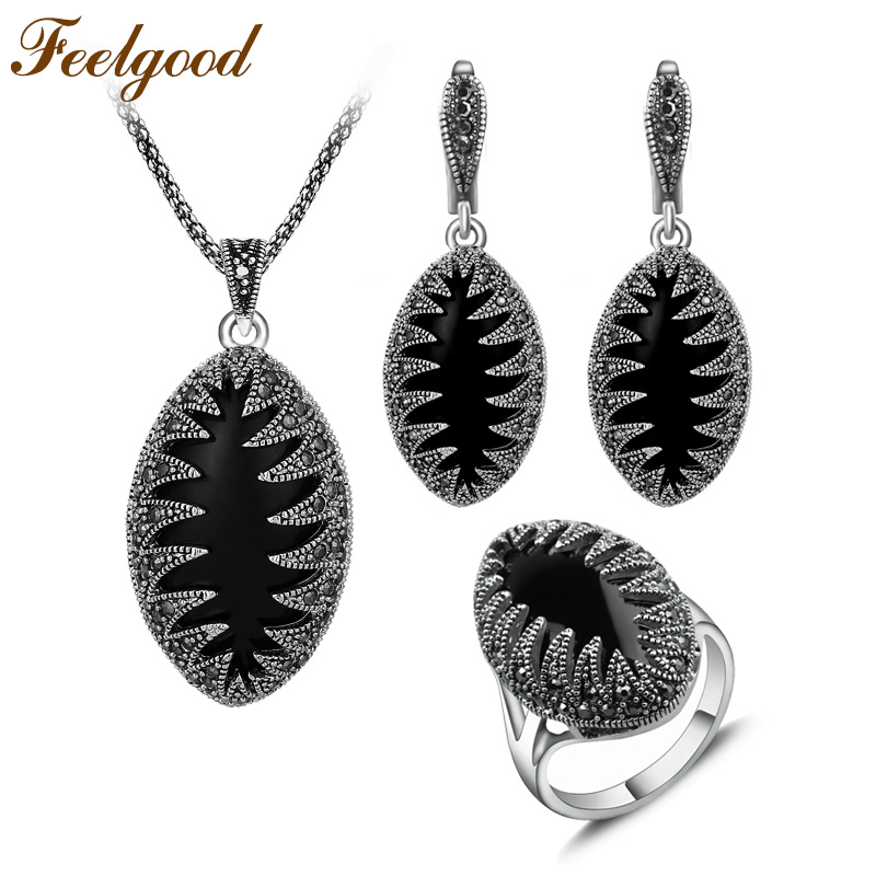 Feelgood Jewellery Set di gioielli di moda color argento vintage Set di orecchini pendenti in cristallo nero con marchesa marchesa Set regalo per donna