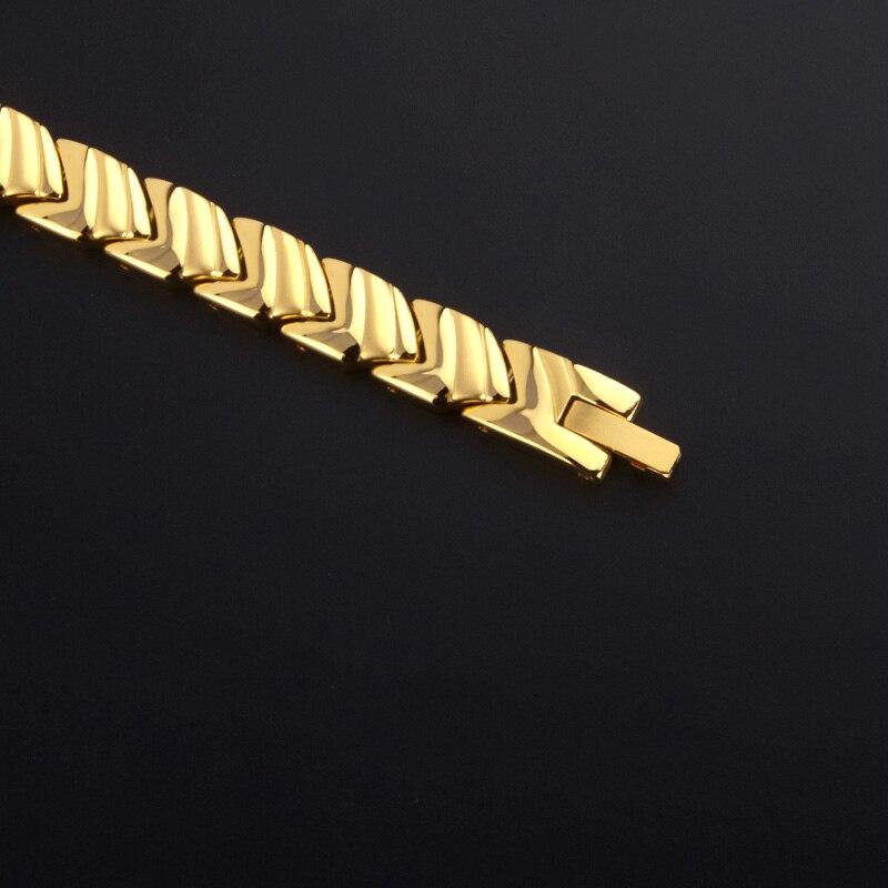 Bracelet de thérapie magnétique de bracelets porte-bonheur magnétique d'acier inoxydable de bijoux de mode des hommes 38 élégants - 4