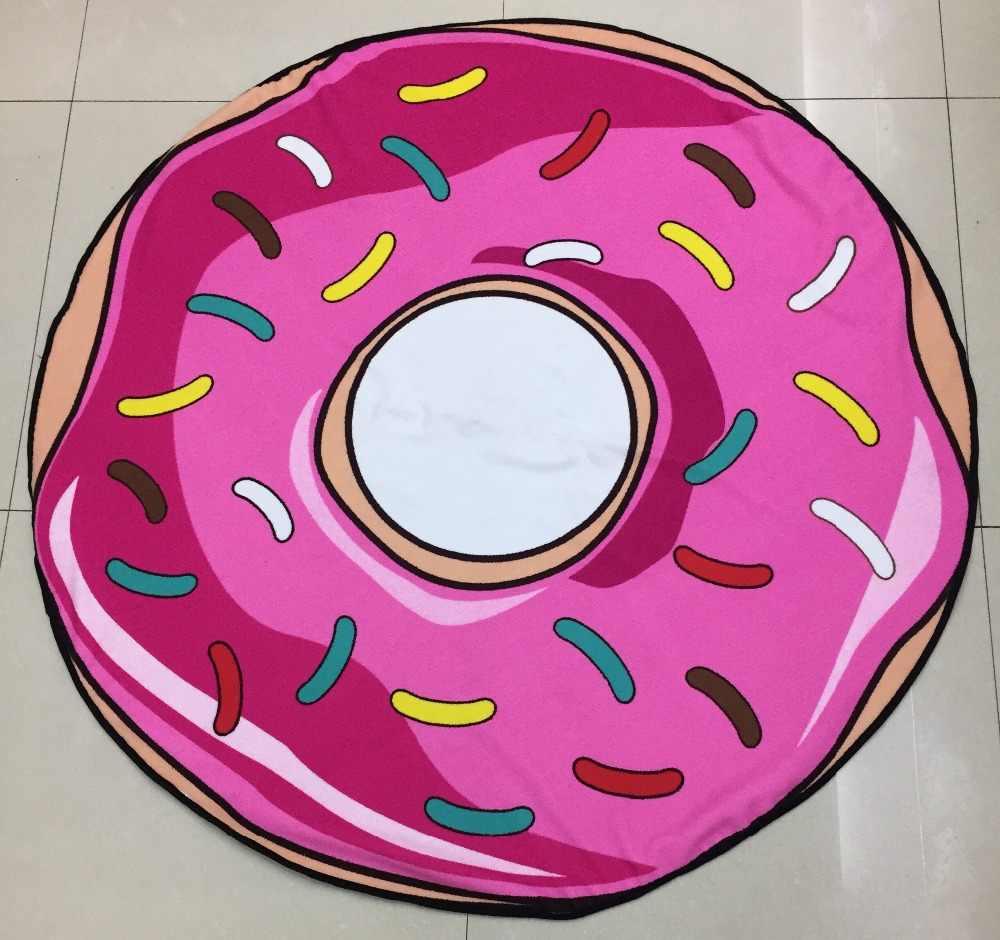 새로운 마이크로 화이버 라운드 비치 타월 120cm 목욕 타월 인쇄 여름 어린이 샌디 수영 일광욕 담요 커버
