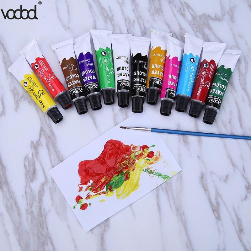 12 Colors 12ml Tube Acrylic Paint Set Nail Glass Art Painting for Fabric Drawing Tools Kids DIY School Supplies Free Brush HOT цена