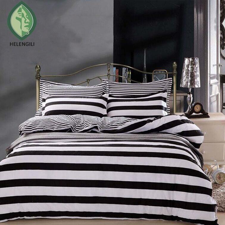 buy striped bedding sets 4pcs twin queen full zebra black and white blue duvet. Black Bedroom Furniture Sets. Home Design Ideas
