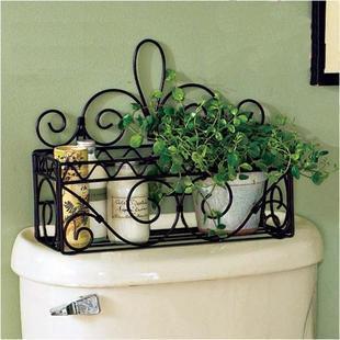 Fashion Bathroom Rustic Iron Wrought Wall Shelf Rack Toilet Frame Soap Holder