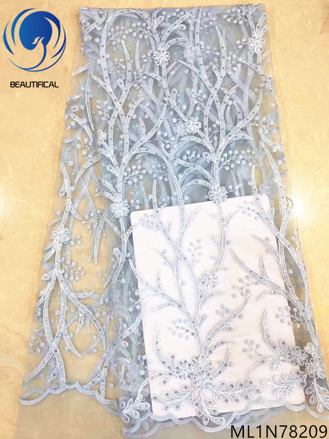 Beautifical wholesale mesh lace fabric quality lace fabric with sequins guangzhou lace fabric 5 yards/lot for party ML1N782