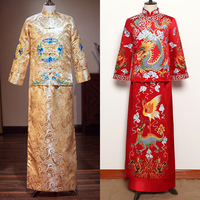 Red Long Sleeve Groom Toast Clothing Chinese Groom wedding Dragon Robe Men Jubilant Costume Tang Suit Wedding Traditional Gown