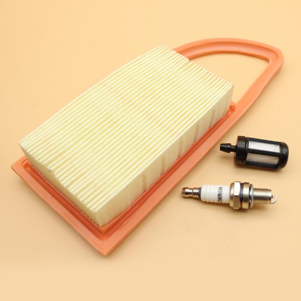 Air Filter Cleaner & 4-Stroke Spark Plug Fuel Filter Set Fit STIHL BR600 BR500 BR550 Back Pack Blower CMR6H / Stens 605-599
