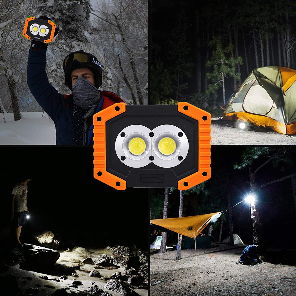 Купить с кэшбэком Portable LED Flashlight COB Work Light Floodlight Searchlight Waterproof USB Rechargeable Power Bank For outdoor lighting