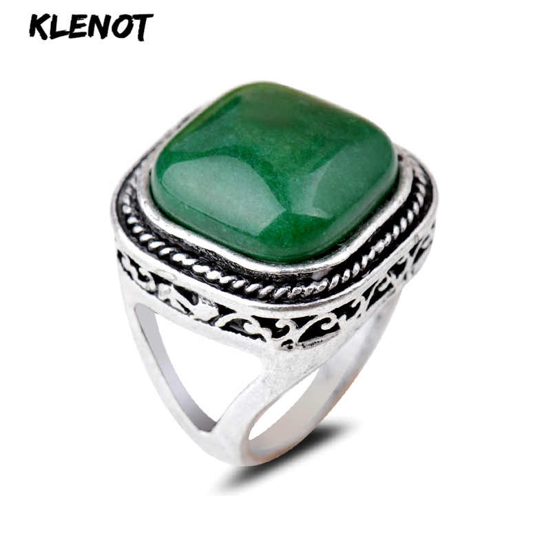 Natural Green Stone Ring Ancient Silver Golden Sand Geometric Square Agate Setting Lady Finger Rings 17/18/19cm Party Jewelry