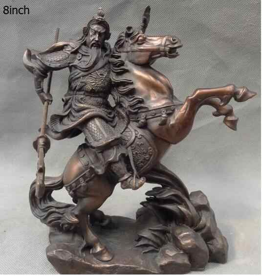 "8"" Chinese Pure BRASS Dragon Head Warrior Guan Gong Yu God Ride Horse Statue statues garden decoration"