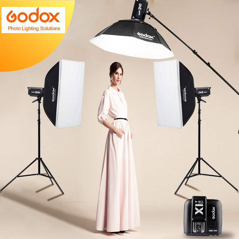 Nuevo Godox Photo Studio light 3xDP400II 400WS Flash estroboscópico fotografía Softbox luz Stand Kits para la boda, blogs