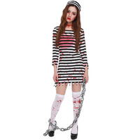 New Arrival Halloween Horror Zombies Blood Female Prisoners Cosplay Halloween Prisoners' Party Stripe Costume L1872758