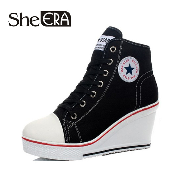 261acf31f44 Women Shoes Badge Wedges High Lacing Pumps Elevator Female Canvas Shoes  High Top Wedge Boots Women
