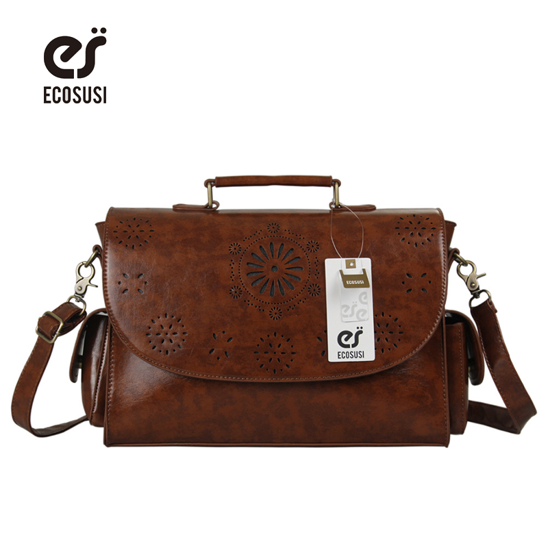 ECOSUSI 2018 Brown Business Briefcase Vintage Womens Shouder Bag Hollow Out Crossbody Bags For Women Solid Pu Messenger Bags