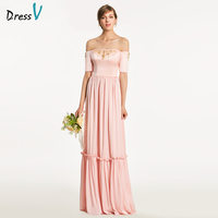 Dressv Pink A Line Bridesmaid Dress Zipper Up Short Sleeves Beading Wedding Party Women Floor Length