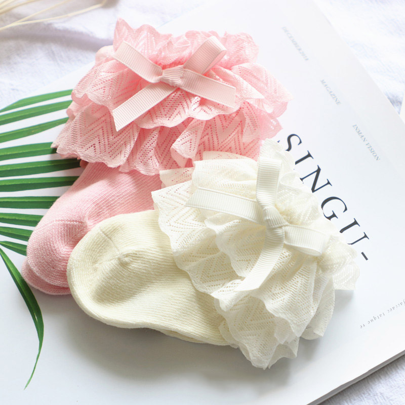 Winter Autumn New Baby Socks Cute Lace Flower Bows Newborn Baby Girl Socks Cotton Princess Girls Socks Recien Nacido Calcetines