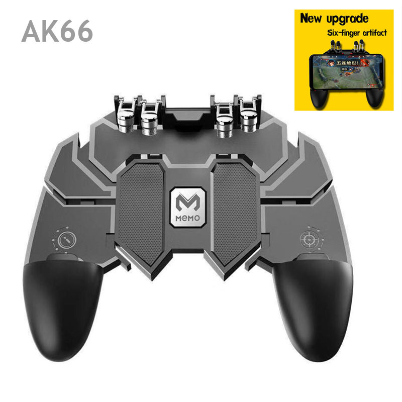 Dropshipping. exclusivo. AK66 seis dedo todo-en-uno móvil controlador de juego libre de fuego botón Joystick Gamepad L1 R1 gatillo para PUBG