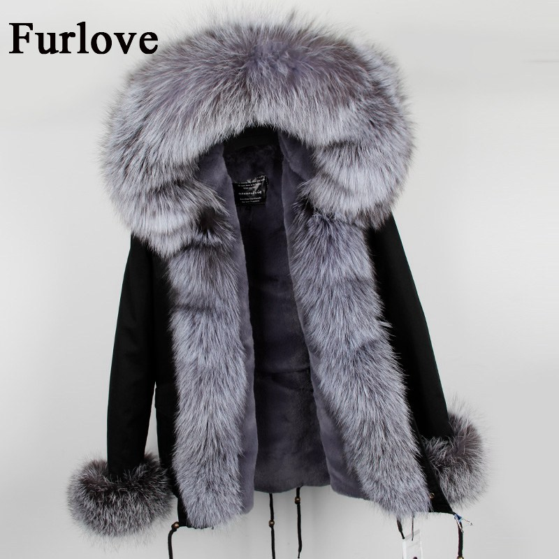 Womens Winter Jacket Women Coat Jackets Natural Real Fox Fur Collar Hooded Coats Casual Vintage Warm Thick Parka Black Parkas woman winter jacket fur natural fox fur genuine leather jacket long winter coat sleeve three quarter thick womens down jackets