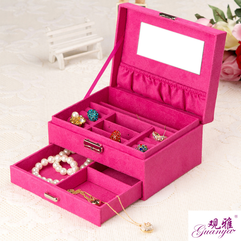Practical Flannel Jewelry Box For Women Flannel Fashion Jewelry Display 5 Colors High Quality Jewelry Organize Gift For Girl