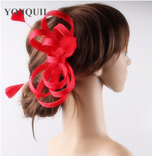 17 colors charming sinamay material fascinator headpiece wedding hair accessories church hat suit for all season