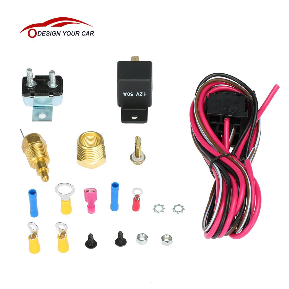 Car Styling Electric Cooling Fan Wiring Install Kit 185 170 Degree Thermostat In Cables Adapters Sockets From Automobiles Motorcycles On
