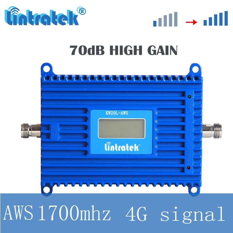 Lintratke AWS 4g amplificateur de communication de téléphone mobile cellulaire amplificateur de signal LCD 3g 1700 mhz répéteur internet à gain élevé s4