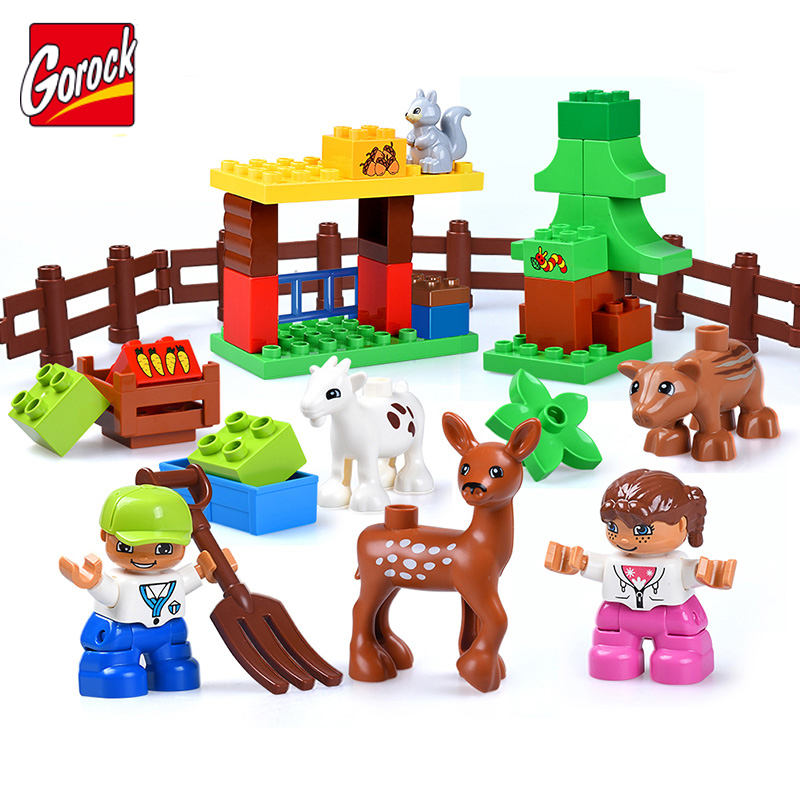 13~123pcs Large Farm Building Blocks Kit Bricks Christmas Gifts Educational Toys For Children Compatible duplo Toy Hot kid s home toys large particles happy farm animals paradise model building blocks large size diy brick toy compatible with duplo