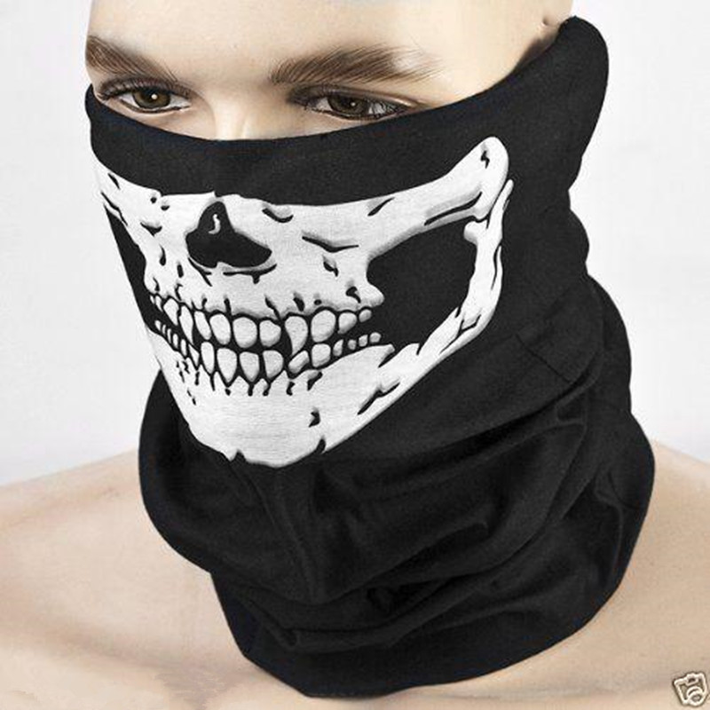 Men Women Cool Skull Design Adults Multi Function Ski Sport Motorcycle Biker Scarf Half Face Mask Sport Headband