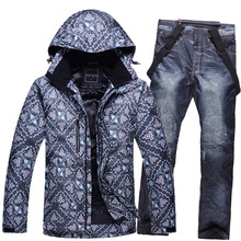 Professional monoboard ski suit set Men winter outdoor windproof waterproof breathable skiing thermal underwear