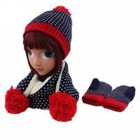 Warm Baby Thick Hat Scarf Glove 3pcs Set Printed Knitted Children Kids Beanie Cap Neck Warmer