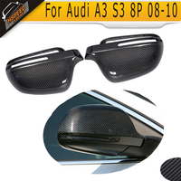 Carbon Fiber Car Side Mirror Covers Caps For Audi A3 S3 8P A4 B8 S4 RS4 08 10 A5 S5 8T 07 09 without side assist