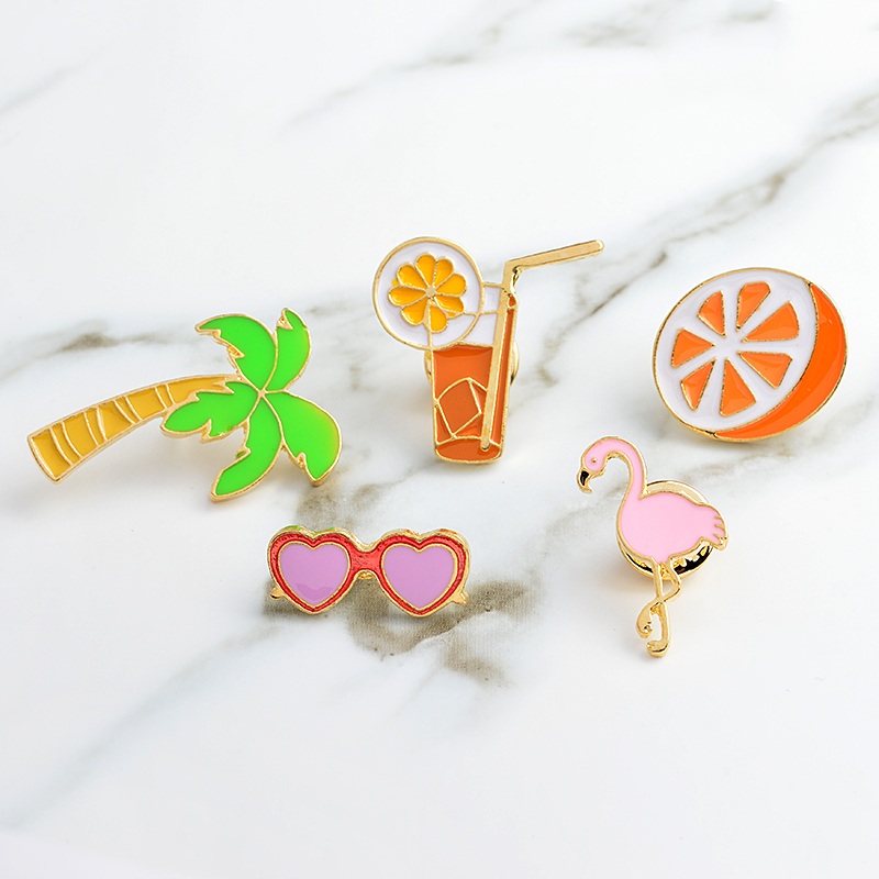 Juice Flamingos Sunglasses orange coco tree holiday Brooch Collar Corsage Shirt bag cap Jacket Pin Badge Jewelry