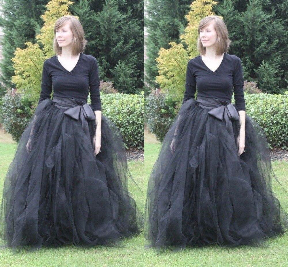 e246119fbd Negro Vintage vestidos de bola largo faldas de tul con arco de la cinta  piso longitud de la falda para mujer Color sólido minions envío gratis en  Disfraces ...