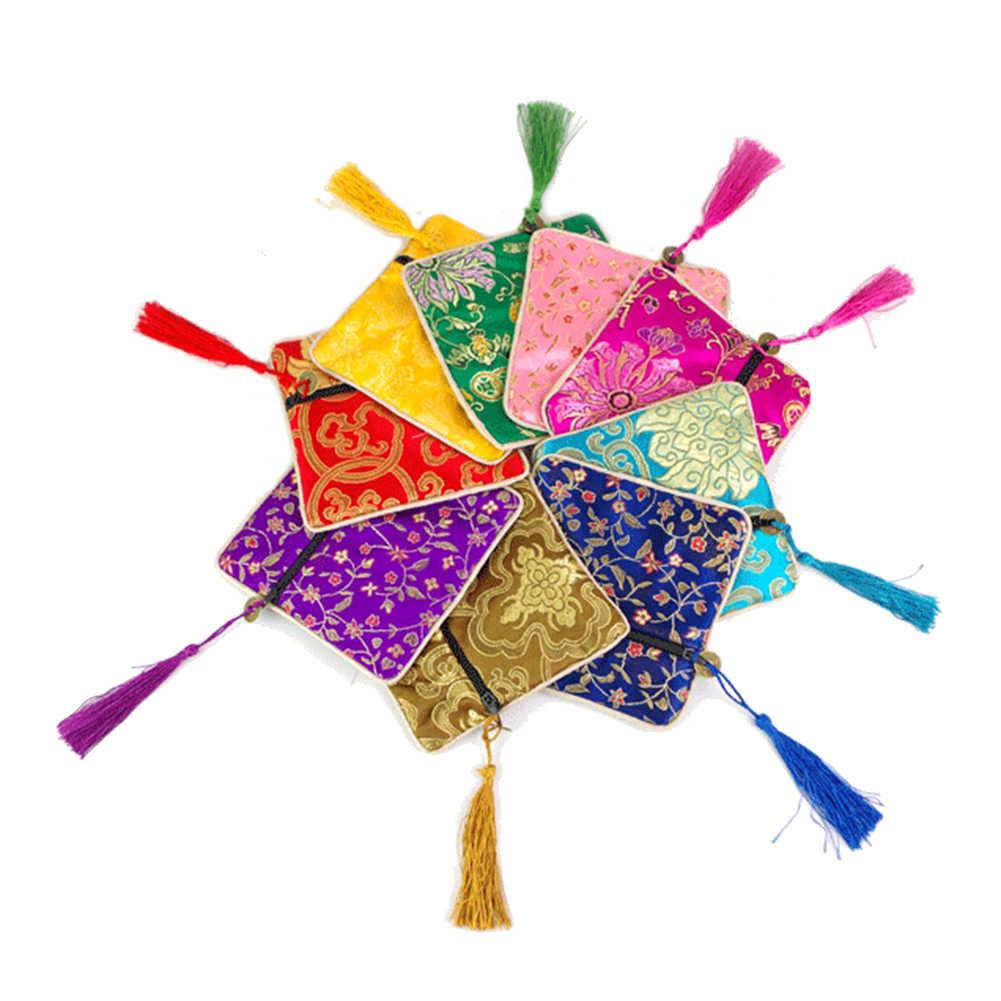 Bolsita con bordado Floral, bolsa de la suerte cuadrada, borla, cremallera, bolsa de almacenamiento de joyería, bolsas