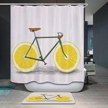 Polyester Waterproof Cartoon Orange Lemon Bicycle Shower Curtain Bathroom Curtains Mildewproof Bath CurtainChina