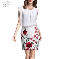 ElaCentelha Women Dress Summer Style Sleeveless Printed Patchwork Pencil Dresses Ladies Clothing Plus Size Work OL