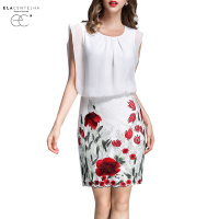 ElaCentelha Women Dress Summer Style Sleeveless Printed Patchwork Pencil Dresses Ladies Clothing Plus Size Work OL