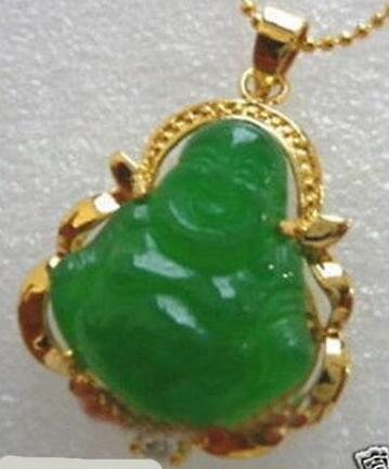 FREE SHIPPING>> CHINESE Good Lucky GREEN JADE BUDDHA PENDANT NECKLACE