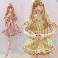 2016 Лето Женщины Каваи Желтый Лолита платье Хлопок Моды Прекрасные Горячие платья Японский Маленький Плед С плеча Сексуальное платье
