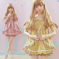 2016 Summer Women Kawaii Yellow Lolita dress Cotton Fashion Lovely Hot Japanese dresses Little Plaid Off the shoulder Sexy dress