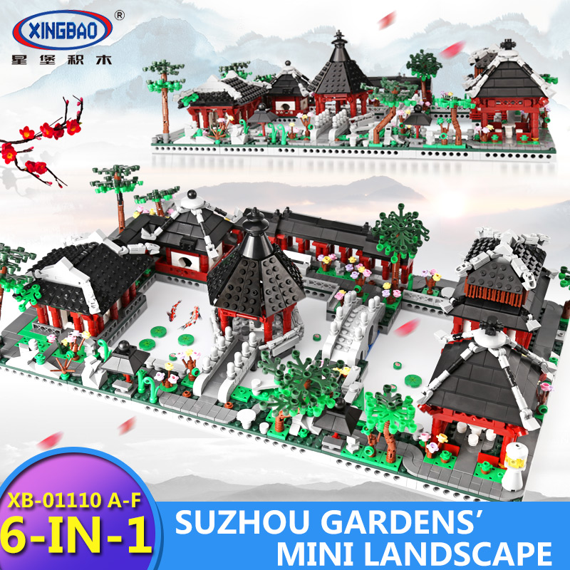 XingBao 01110 Chinese Traditional Buildings 6 in 1 Suzhou Pavilion Style Garden Model Building Blocks Bricks Toys For Kids Gifts