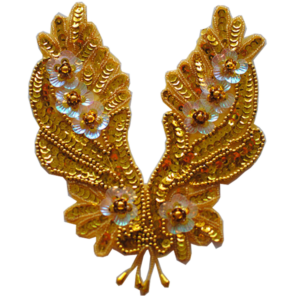 Delicious Yackalasi 10 Pcs/lot Gold Headwear Sequined 3d Embroidery Patches Beaded Accessories Stage Clothing Hair Accessory 18.5*18.5cm Patches