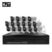 HJT 16CH 1080P 2.0MP H.264/H.265 IP Camera Kit POE 48V 16CH POE NVR CCTV Camera Waterproof 4IR NightVision AEeye P2P