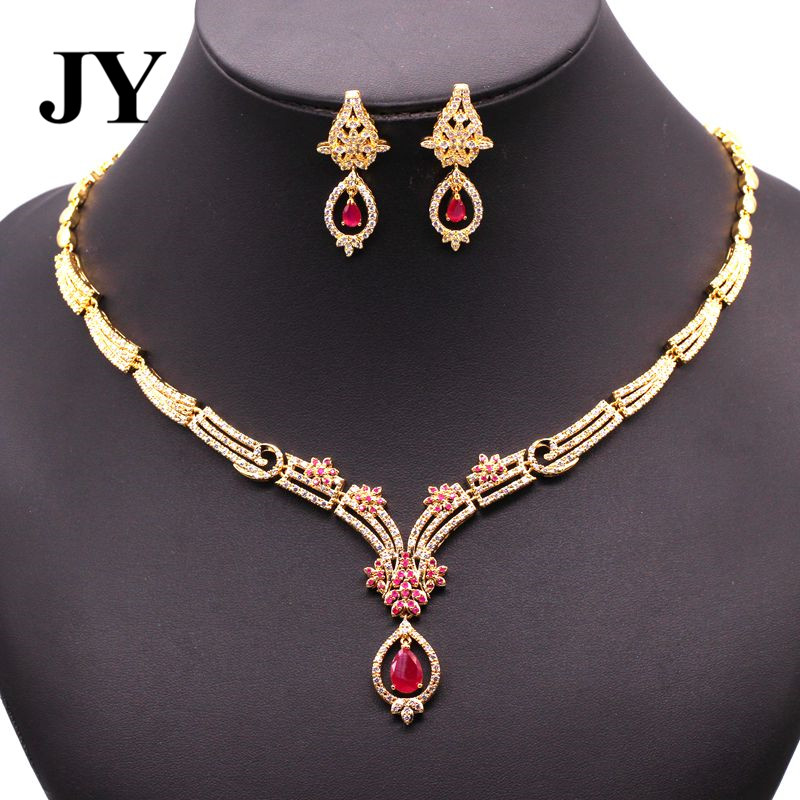 JY New Fashion gold Color Luxury Jewelry Set For Women Party Earring Elegant Necklace Girls Bracelet Best Love Gift For Friend