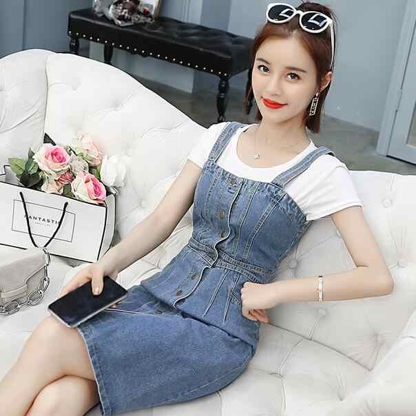 2019 летнее Новое модное женское джинсовое платье для стройных сексуальных моющаяся подвеска однобортный джинсовый сарафан комбинезон платье WF153