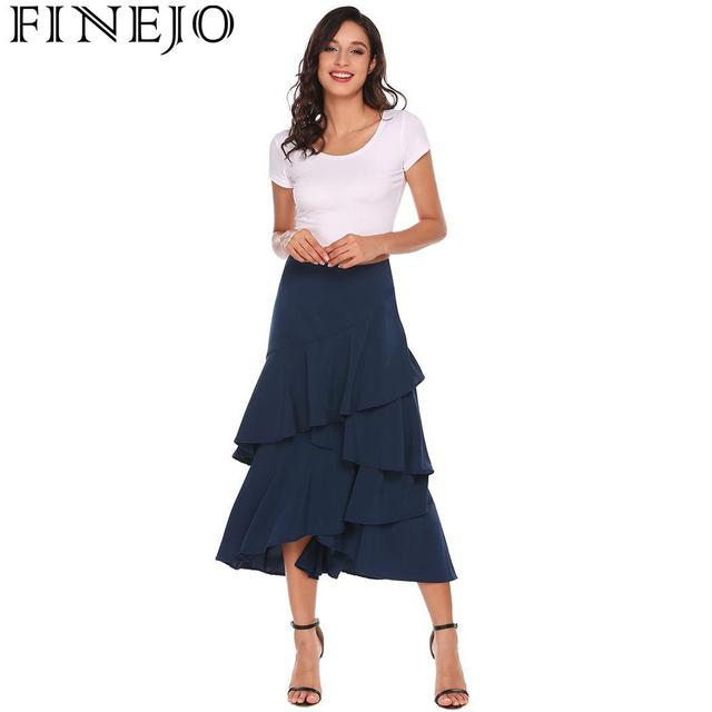 FINEJO Casual Skirts Women Autumn Hem Ruffles Asymmetrical Solid Party Club Pleated