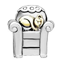 Everbling Jewelry Kitty Cat Chair Two Tone Authentic 925 Sterling Silver Charm Beads Fits Pandora European