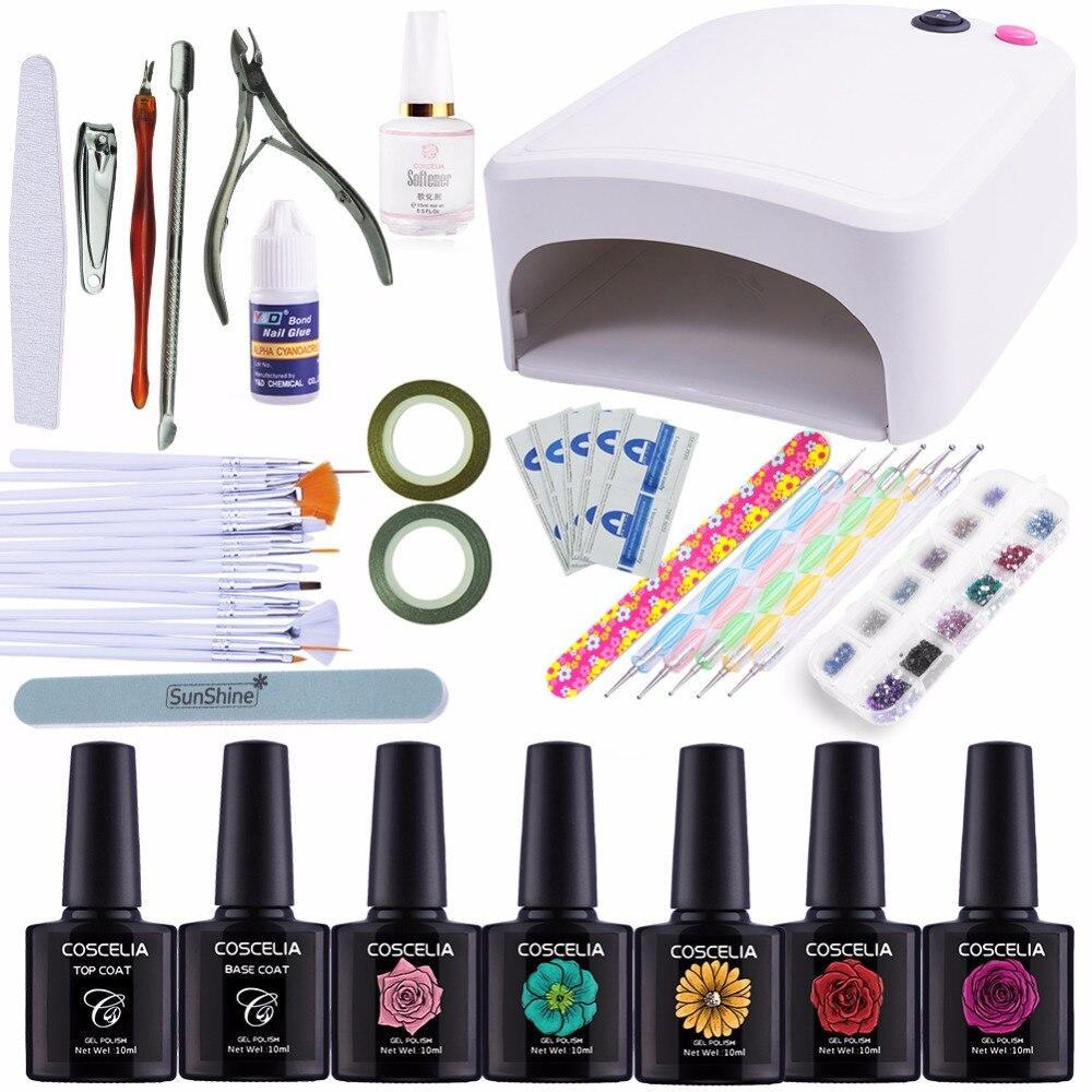 Nail Art Kits Manicure Set 36W UV Lamp Dryer Nail 5 Colors Soak Off Gel Nail Polish Varnish Base Top Coat Polish Remover Files nail uv blue place 8ml 5 colors base top polish tool bag cleaning brush tips manicure set kits