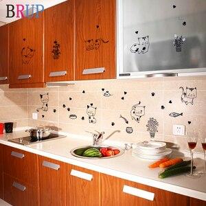 77*56cm Lovely Cats Kitchen Decoration Cartoon Black Cat Wall Sticker DIY PVC Decorative Vinyls for Walls Art Stikers Muraux(China)