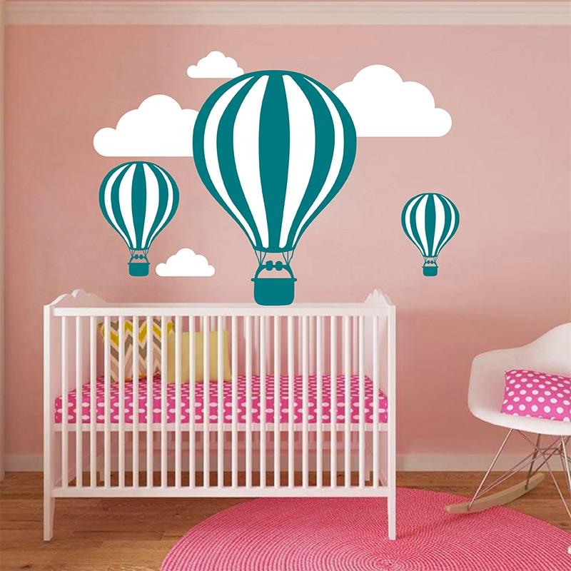 Baby Nursery Hot Air Balloon Cloud <font><b>Wall</b></font> <font><b>Sticker</b></font> Girl Room <font><b>Wall</b></font> Decal Easy <font><b>Wall</b></font> Art Children Room <font><b>Wall</b></font> Cut Vinyl Home Decor Mura